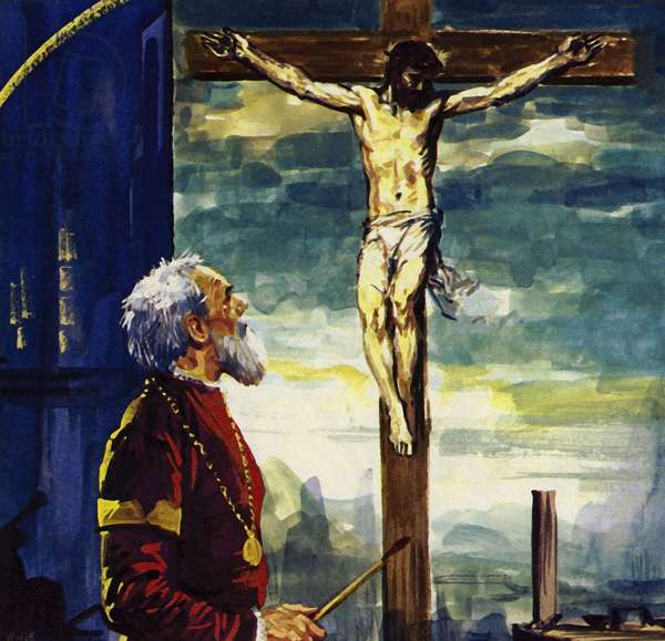 Titian painted many pictures for King Phillip II of Spain, including his famous Crucifixion (colour litho)