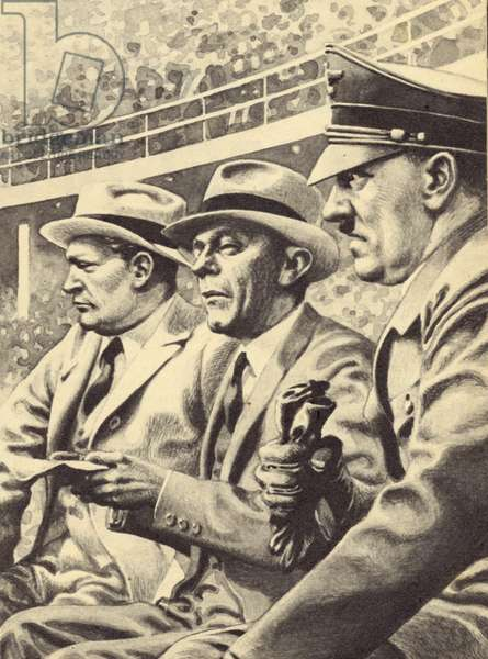 Adolph Hitler and colleagues watching Jesse Owens at the 1936 Olympics (litho)