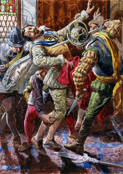 Assassination of Henry I, Duke of Guise, by the bodyguard of King Henry III, 1588 (gouache on paper)