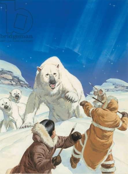 Polar Bears and Eskimos (gouache on paper)