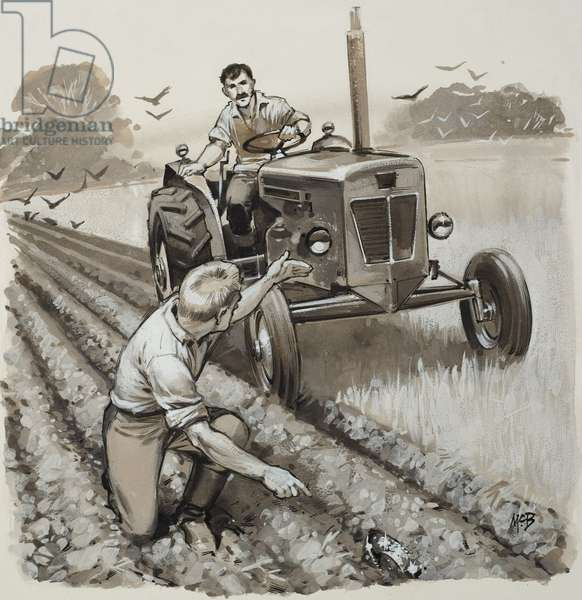Farmer Discovering an Antiquarian Relic (gouache on paper)