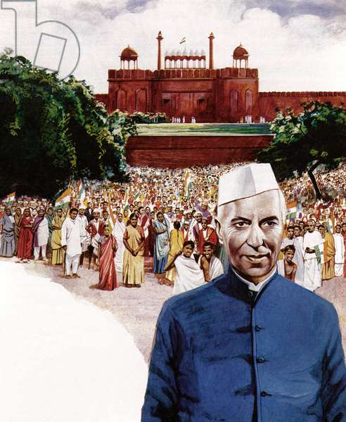 Jawaharlal Nehru, first Prime Minister of India (colour litho)