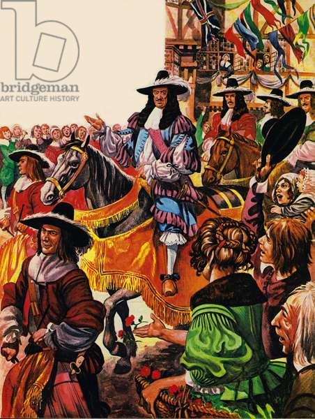 The restoration of King Charles II (colour litho)