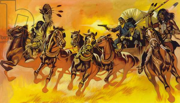 Native American Indians attacking waggon belonging to settlers (gouache on paper)