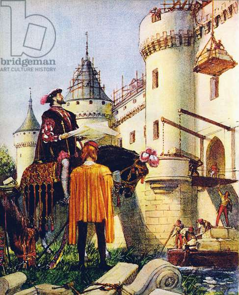 King Francis I of France, superintending the building of castles (colour litho)