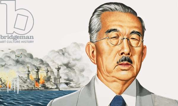 Emperor Hirohito with attack on Pearl Harbour behind