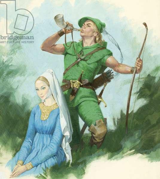 Robin Hood blowing a Horn (gouache on paper)
