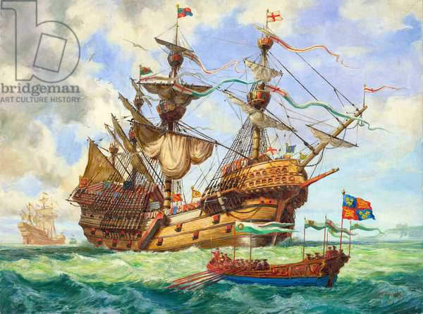 The Great Harry, flagship of King Henry's fleet, sporting many of its 251 guns (gouache on paper)