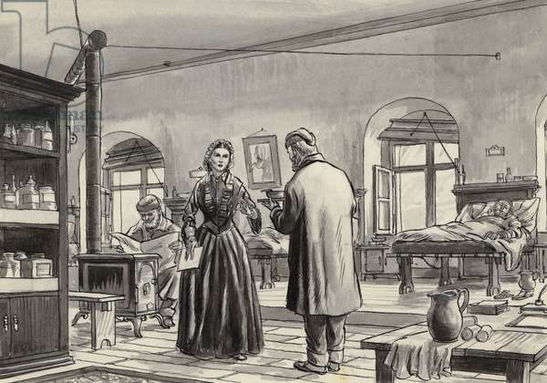 Florence Nightingale working at the hospital in Scutari (gouache on paper)
