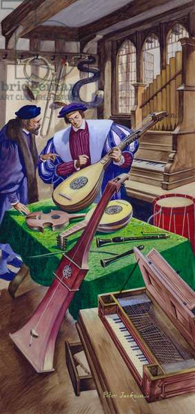 A maker of musical instruments in his shop in Tudor times (gouache on paper)