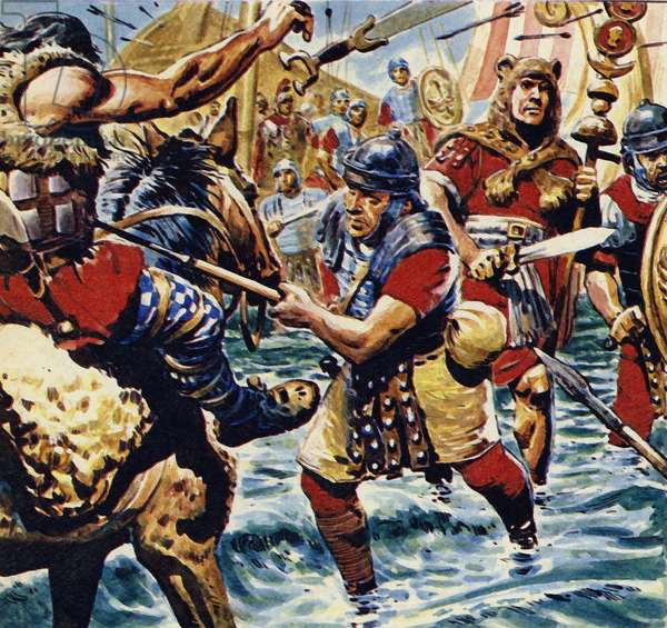Fired up by the bravery of the standard-bearer, the other Roman legions gained courage (colour litho)