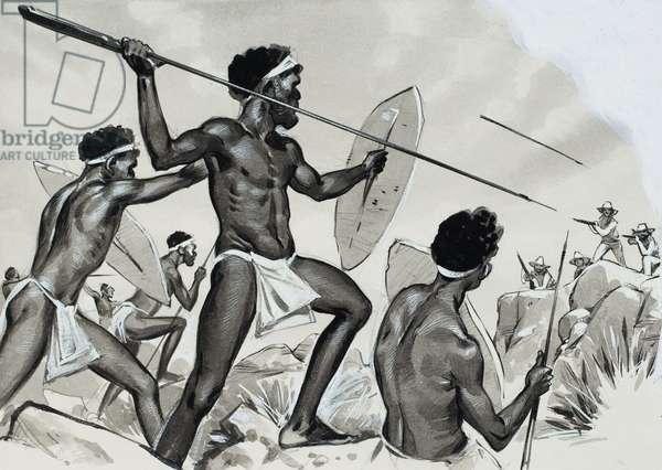 Aborigines under attack (gouache on paper)
