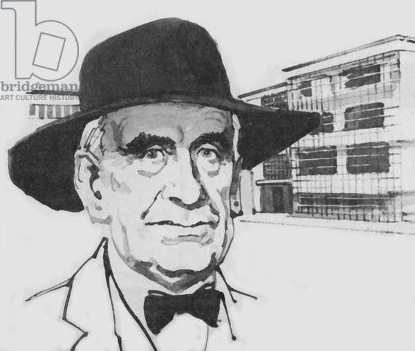 Walter Gropius, the guiding light of the Bauhaus (litho)