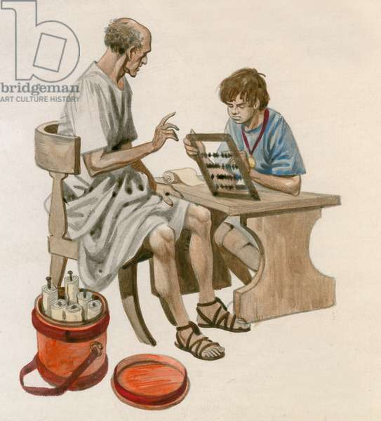 Julius Caesar as a boy, learning to count using an abacus (gouache on paper)