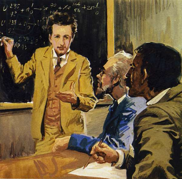 Albert Einstein took a degree in mathematics and physics (colour litho)
