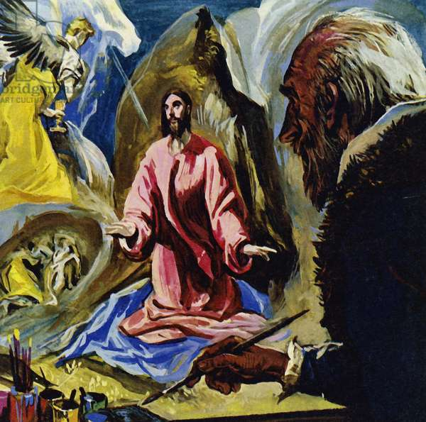 El Greco continued to paint religious subjects until his death at the age of 73 (colour litho)