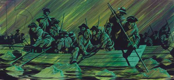 George Washington's army crossing the Delaware river (gouache on paper)