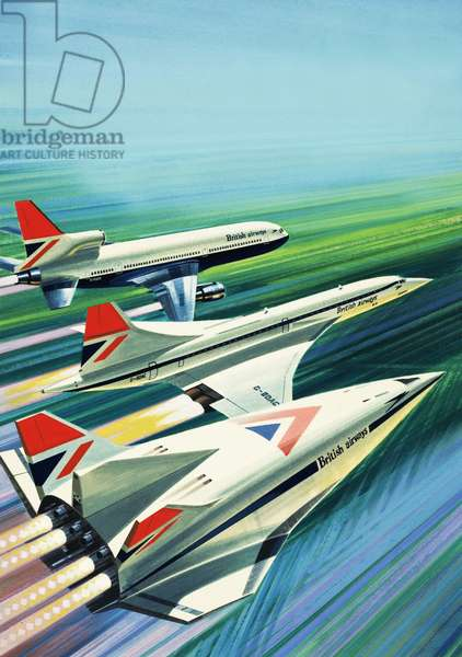 Airliners of the past and future (gouache on paper)