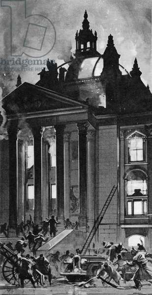 The Burning of the Reichstag. (litho)
