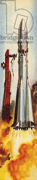 Vostok 6 on lift-off (colour litho)