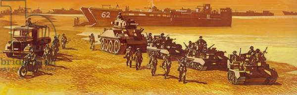 Free French troops landing in Normandy on D-day (gouache on paper)