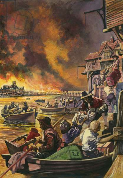 The Great Fire of London 1666 (gouache on paper)