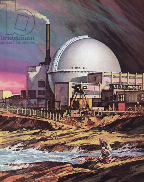The nuclear power plant at Dounreay in Scotland (colour litho)