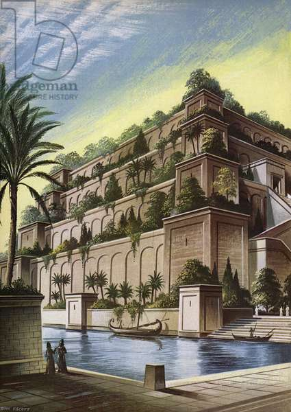 The Hanging Gardens of Babylon (colour litho)