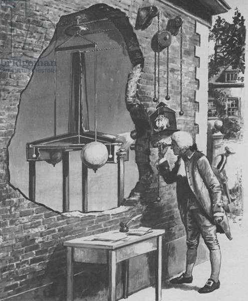 How Henry Cavendish weighed the Earth in 1798 (litho)