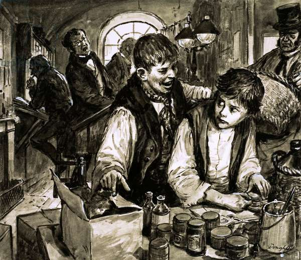 Charles Dickens in the blacking factory (gouache on paper)