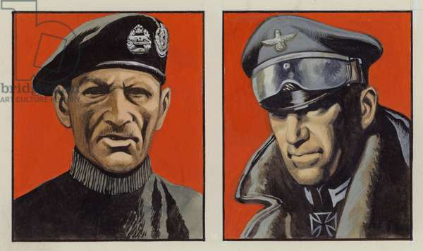 Montgomery and Rommel (gouache on paper)