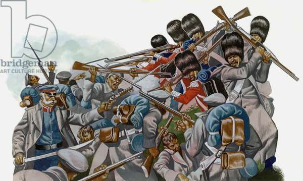 The Battle Of Inkerman, 1854, The Guards fought desperately with fire, bayonets and rifle buts (gouache on paper)