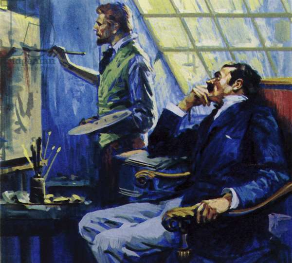 Vincent Van Gogh lived with his brother at a studio in Montmartre (colour litho)
