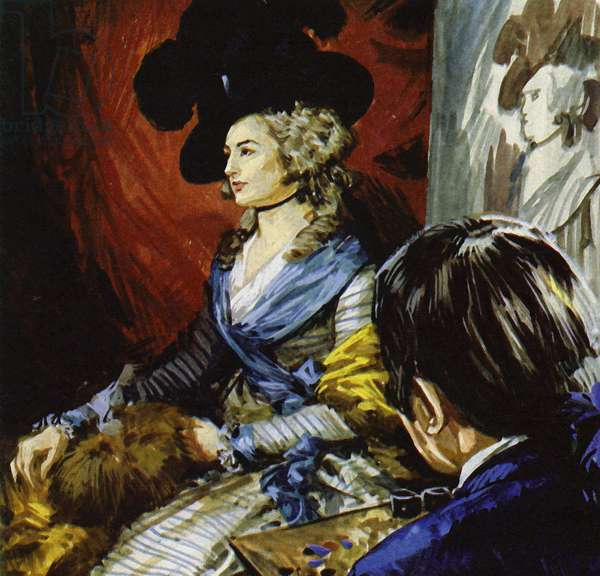 Gainsborough travelled to London to paint the actress Mrs Siddons (colour litho)