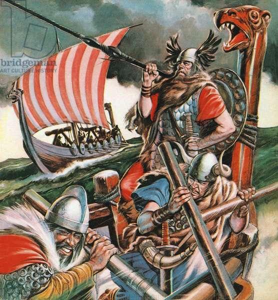 Leif Ericsson, the Viking Who Found America (colour litho)