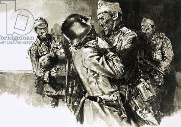 Lieutenant-Colonel Geoffrey Keyes grapples with a German guard