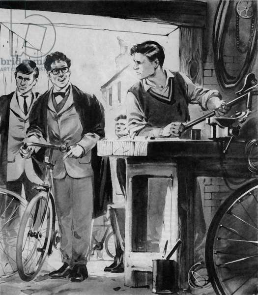William Morris, the future Lord Nuffield, repairing bicycles in Oxford (litho)
