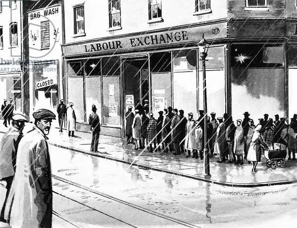 Labour exchange in the UK nine months after the Wall Street Crash of 1929