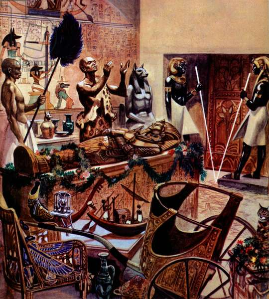 Burial of Tutenkhamen (colour litho)