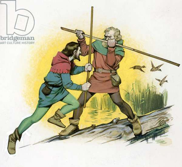 Robin Hood fighting with Little John