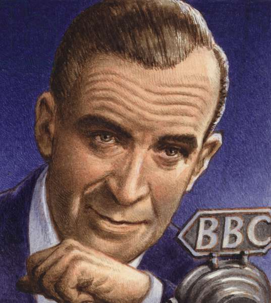Ed Murrow broadcasting from Blitz-hit London (gouache on paper)