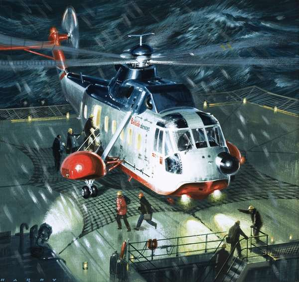 Danger Men of the Oil Fields. a British Airways' S-61N helicopter