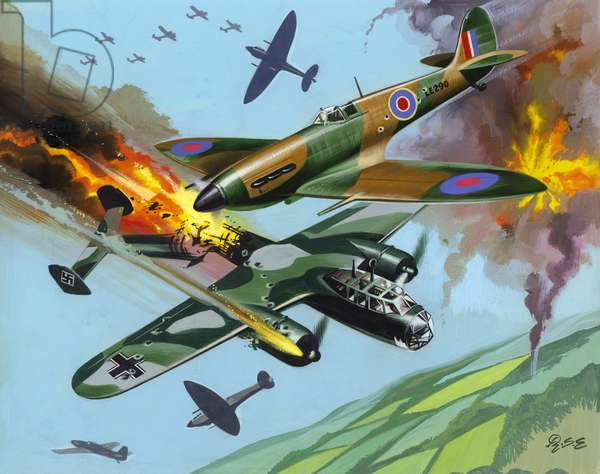 The Battle Of Britain (gouache on paper)
