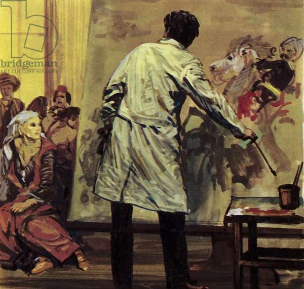 """Eugene Delacroix spent a year and a half painting """"The Massacre of Scio"""" (colour litho)"""