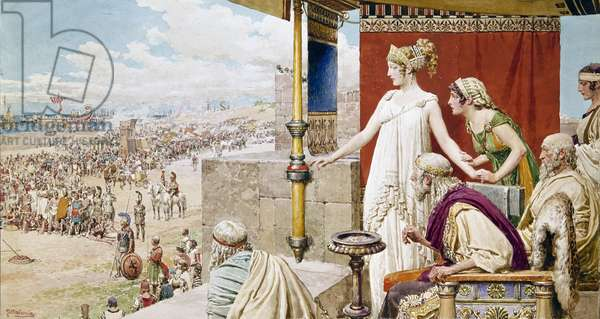 Helen watching Menelaus and Paris fight from the walls of Troy