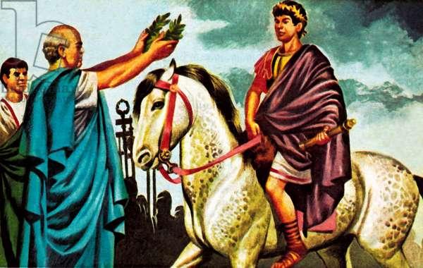 Caligula's horse, Incitatus, who was made a consul (colour litho)