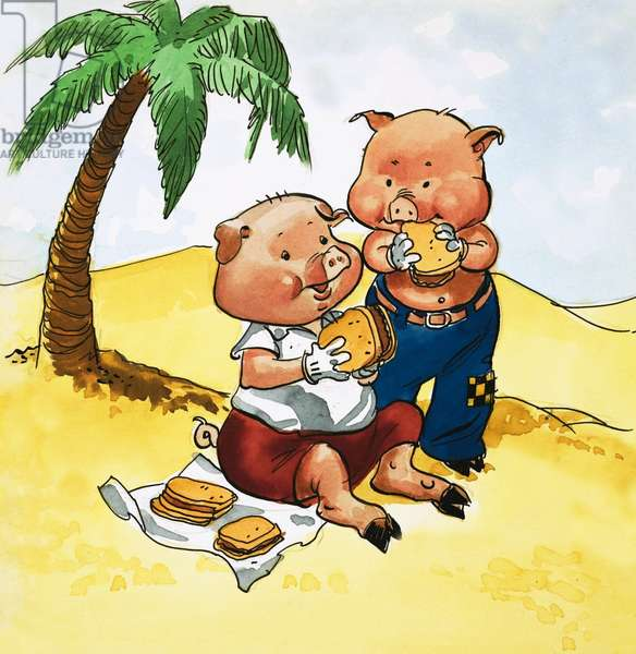 Pigs picnic on a desert island