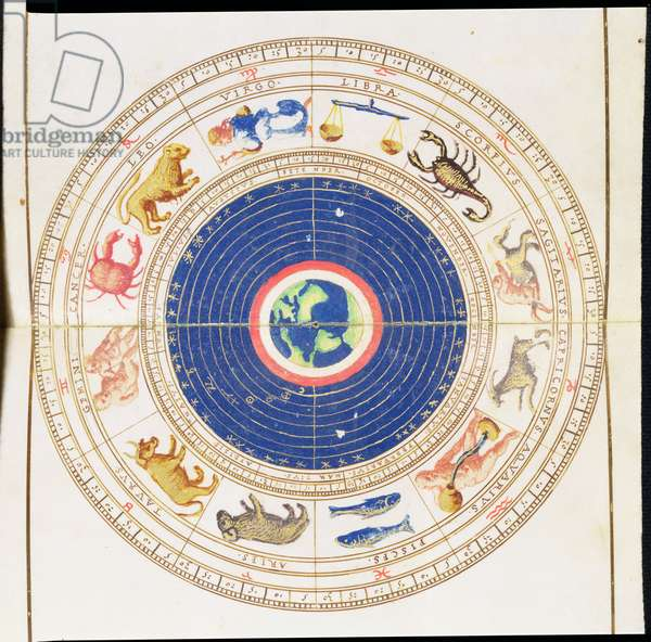 Ms 463 ff.2v-3 Astrological Chart with Signs of the Zodiac, Portolan Map, 16th century