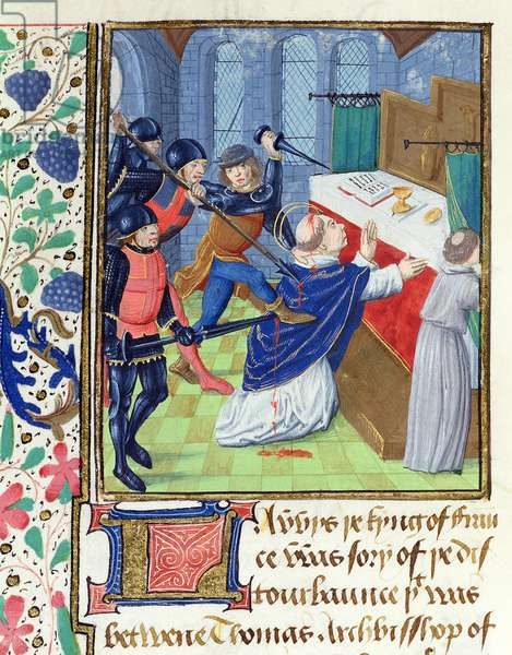 MS. 6, fol.136v Murder of St Thomas a Becket, from the St Alban's Chronicle (vellum)