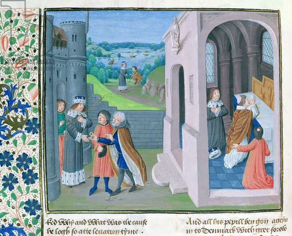 MS. 6, fol.209r Edward receives homage of Scotland, from the St Alban's Chronicle (vellum)